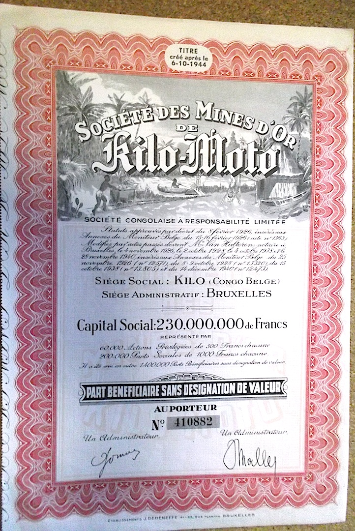 BELGIAN CONGO Mining