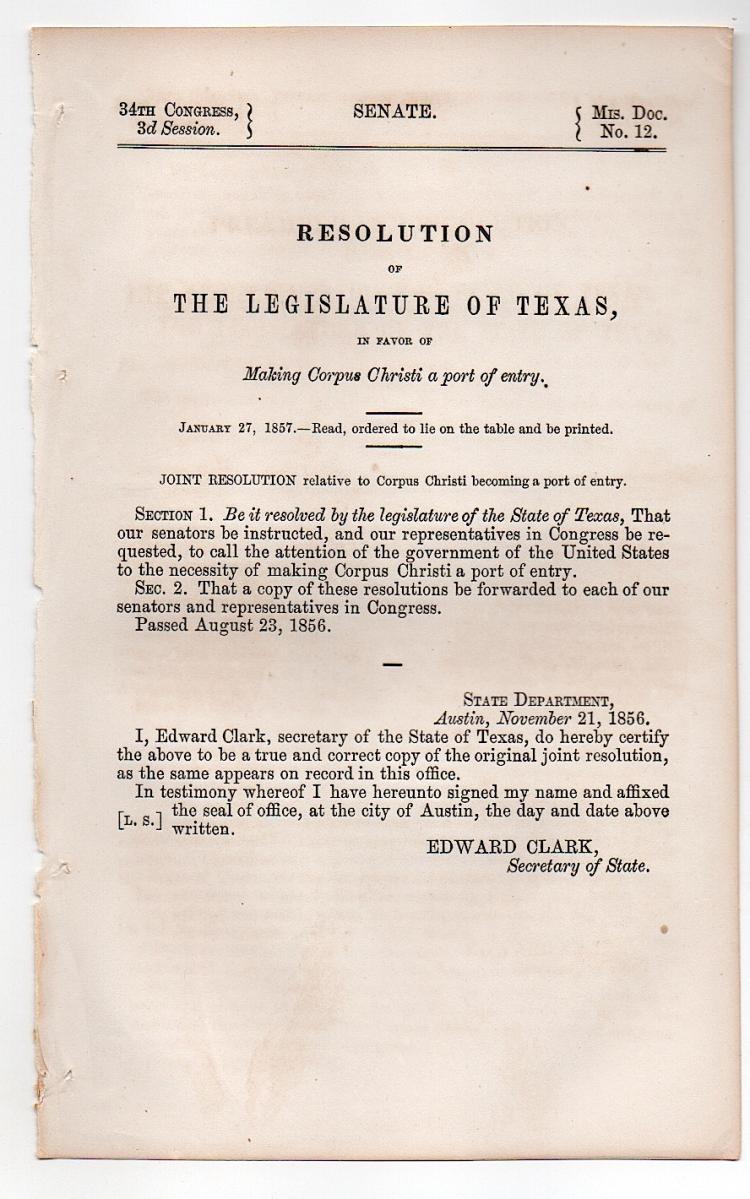 Corpus Christi, Texas 1857