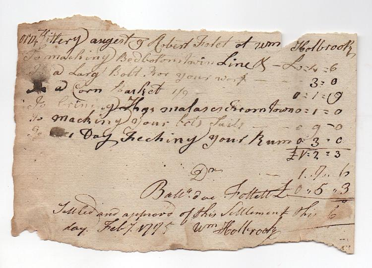 1774-1775 document from Kittery, Maine