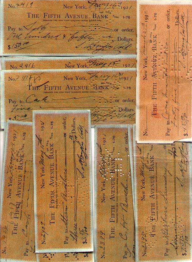 Artist Douglas Volk - 25 signed checks