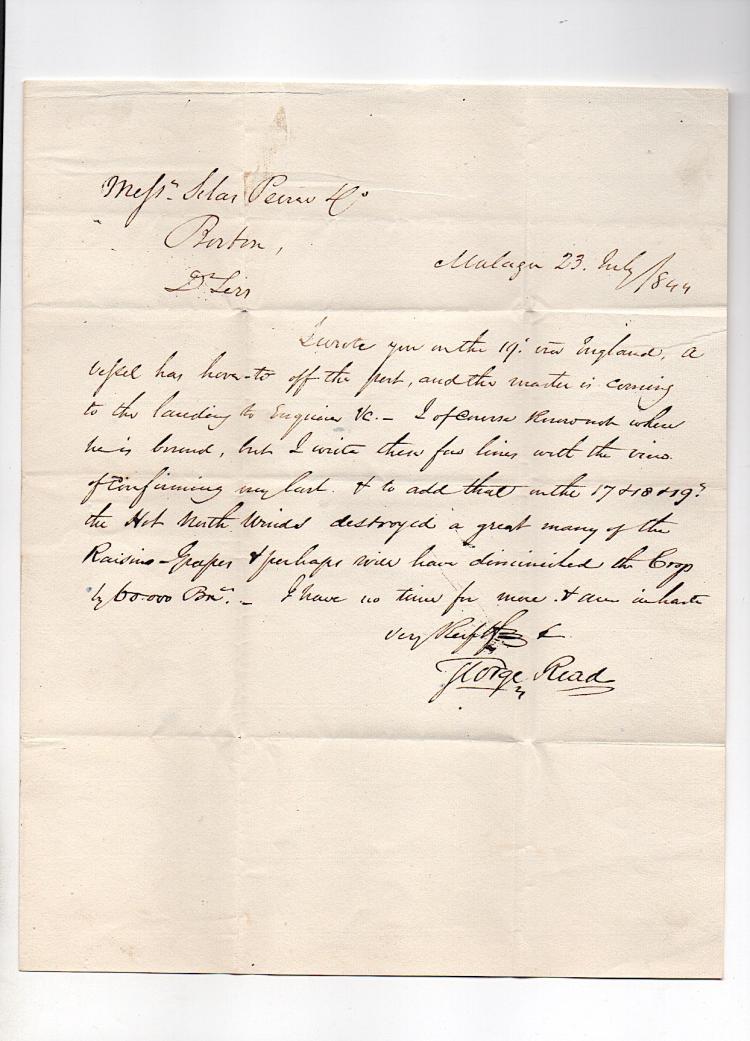 George Read - American Consul Malaga Spain 1844 Letter