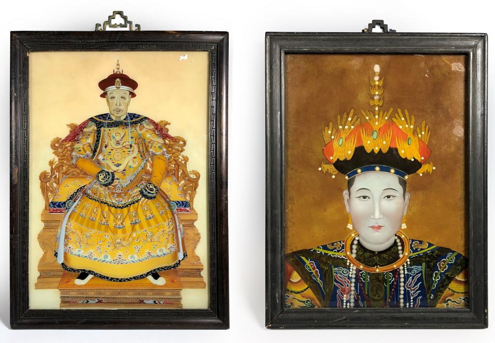 PAIR OF CHINESE REVERSE PAINTED GLASS PANELS
