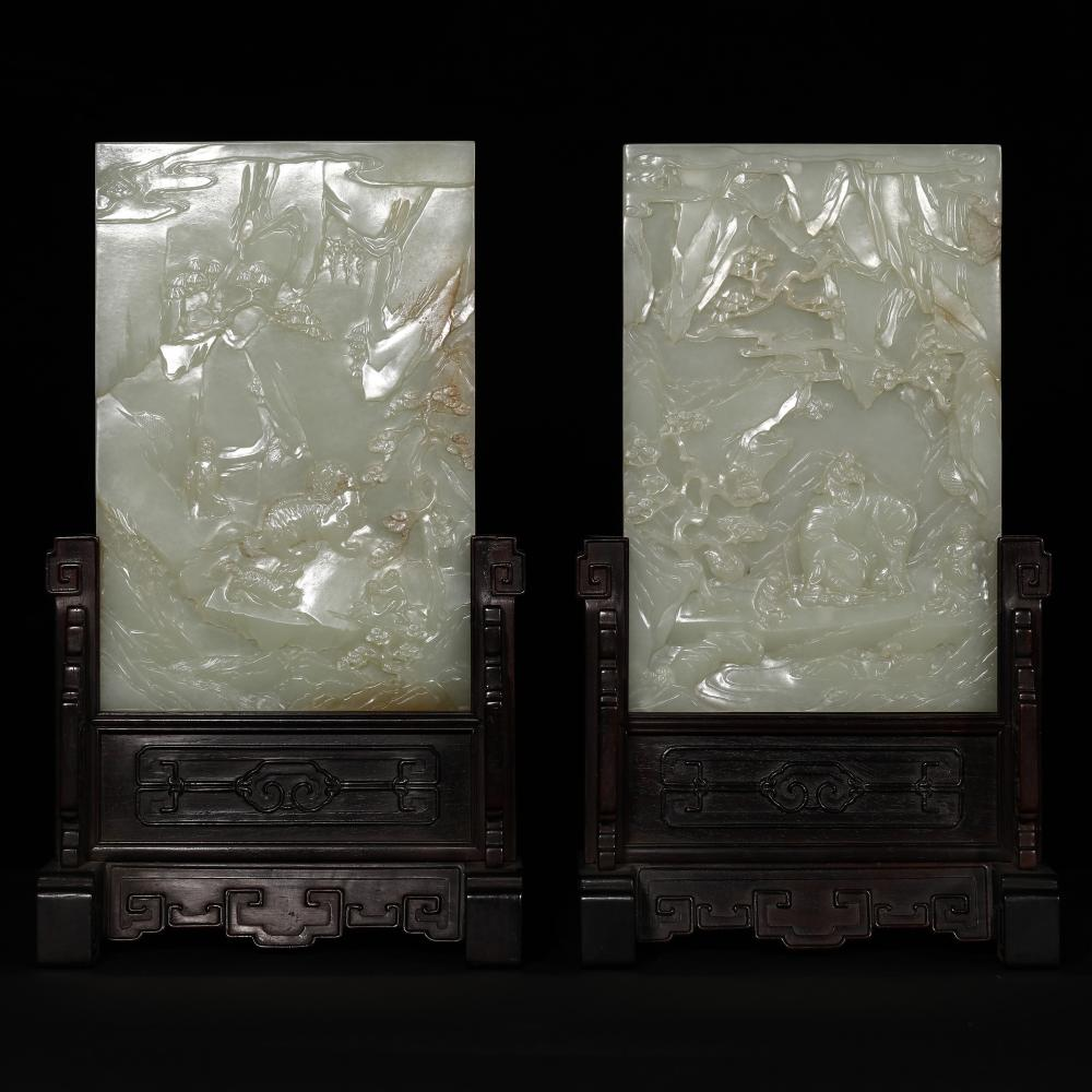AN EXCEPTIONAL PAIR OF WHITE JADE TABLE SCREENS