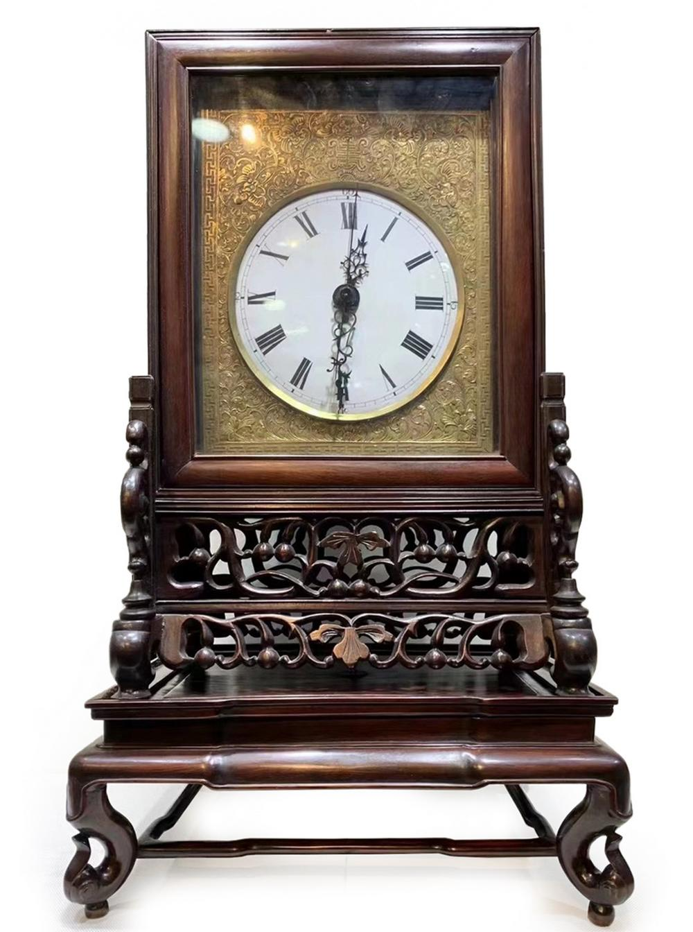 QING DYN. CARVED ROSEWOOD GILT MANTLE CLOCK