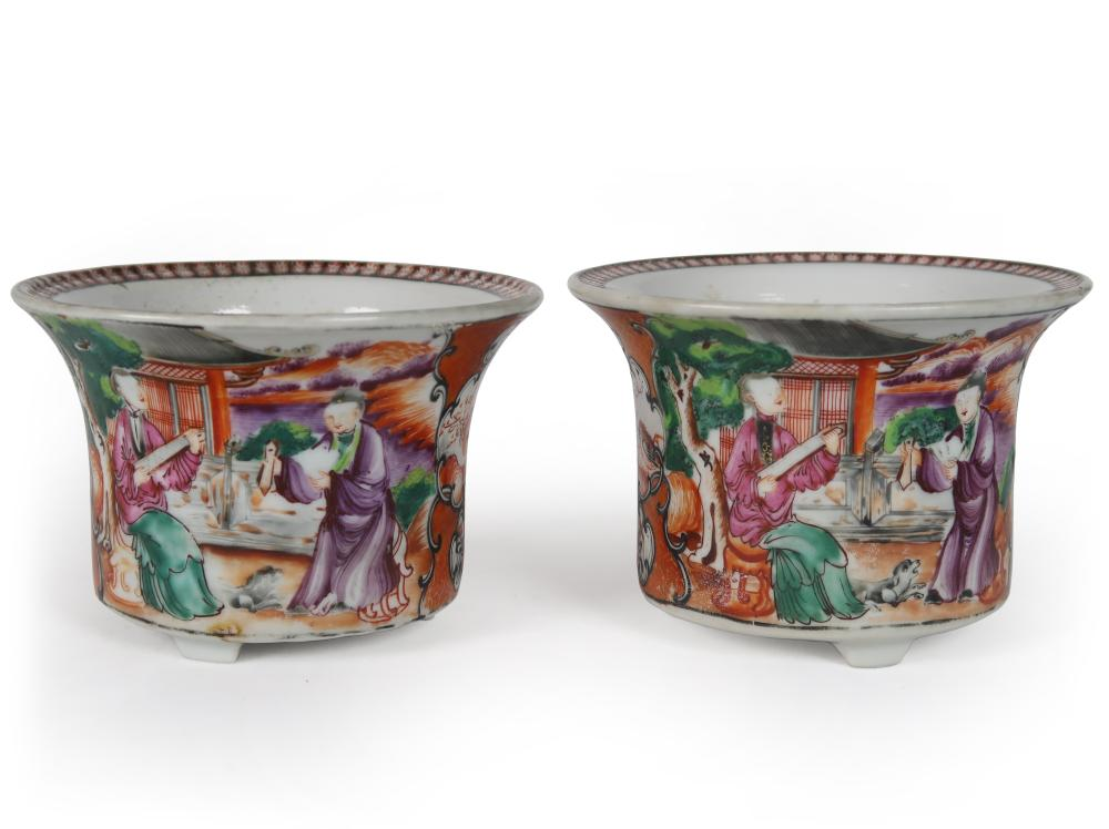 PAIR OF CHINESE EXPORT FAMILLE ROSE PORCELAIN POTS