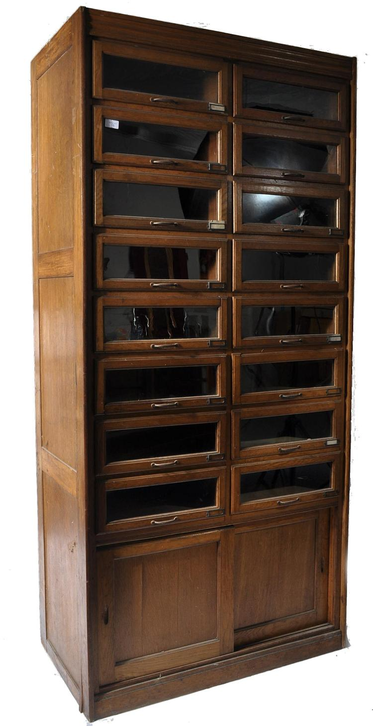 An early 20th century light oak shop display haber for Kitchen cabinets 50cm wide