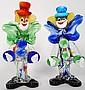 Two glass Murano Clowns