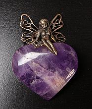 Amethyst & Sterling Fairy Pendant