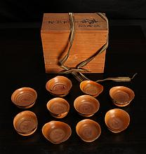 10 Japanese Carved Wood Cups/Bowls in Box