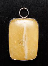 Chinese Silver & Hardstone Pendant