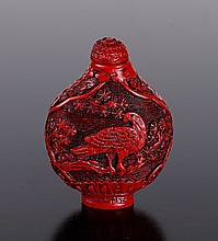 Chinese Cinnabar Style Snuff Bottle