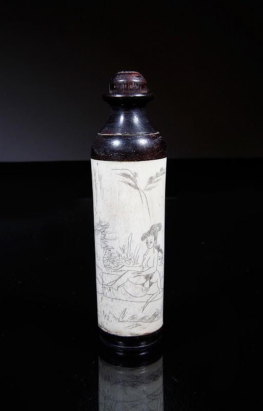Chinese Bone & Rosewood Erotic Snuff Bottle