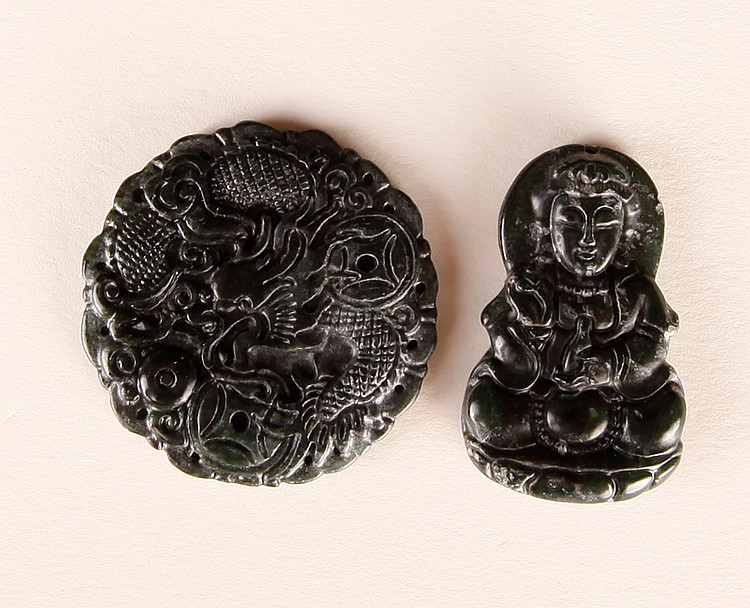 2 Chinese Carved Hardstone Plaques
