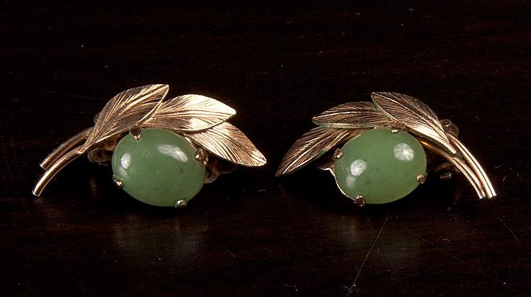 Pair of Chinese Jade Earrings
