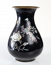 Japanese Brass, Enamel & Abalone Vase