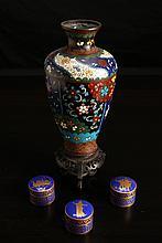 Chinese Enameled Vase & Pill Boxes