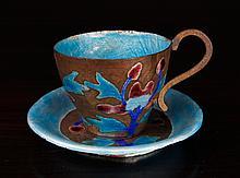 Chinese Republic Enamel/Copper Tea Cup & Saucer