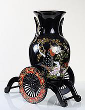Japanese Porcelain Vase & Stand