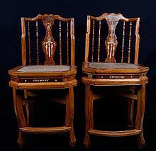 Pair of Chinese Inlaid Wood Chairs