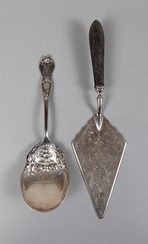 2 Antique Silver Plate & Silver Serving Pieces
