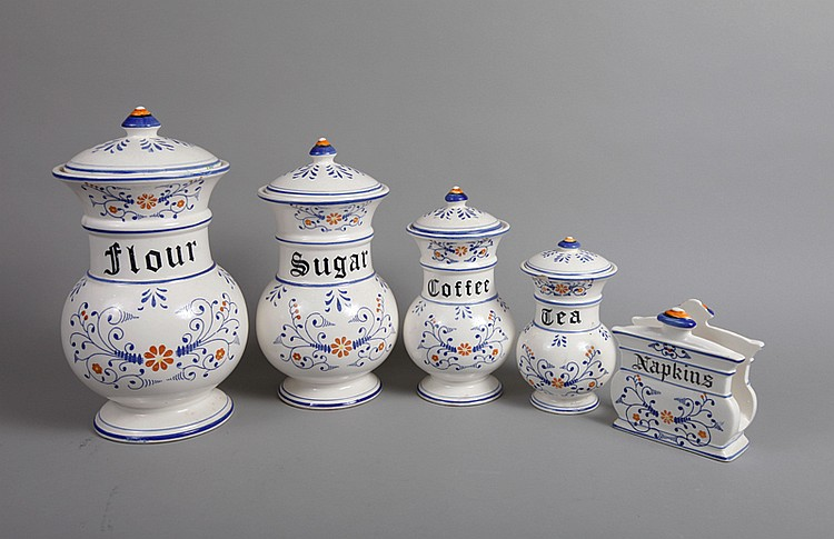 5 Piece Porcelain Canister Set