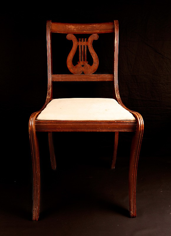 Lyre Back Wooden Side Chair