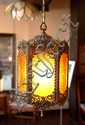 Mid-Century Hanging Brass Lantern Lamp
