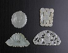 4 Chinese Carved White Jade Plaques