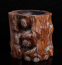 Chinese Carved Wood Brush Pot