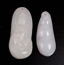 2 Chinese Carved Hardstone Pendants
