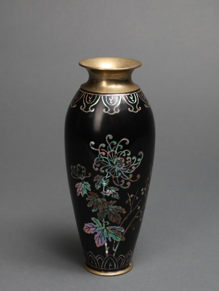 Antique chinese inlaid stone and brass vase for Asian antiques uk