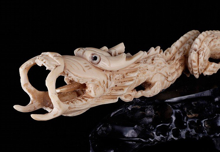 Chinese Carved Bone Dragon On Stand
