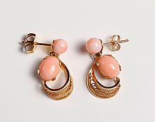Pair of Chinese 14K Gold & Coral Earrings