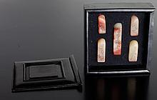 5 Chinese Shoushan Seals in Hardwood Box