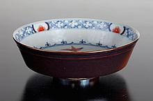 Chinese Blue, Red & Sauce Colored Porcelain Bowl