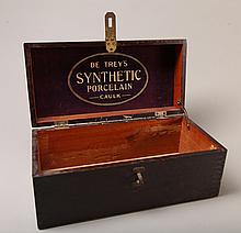 Antique De Trey's Synthetic Porcelain Caulk Box