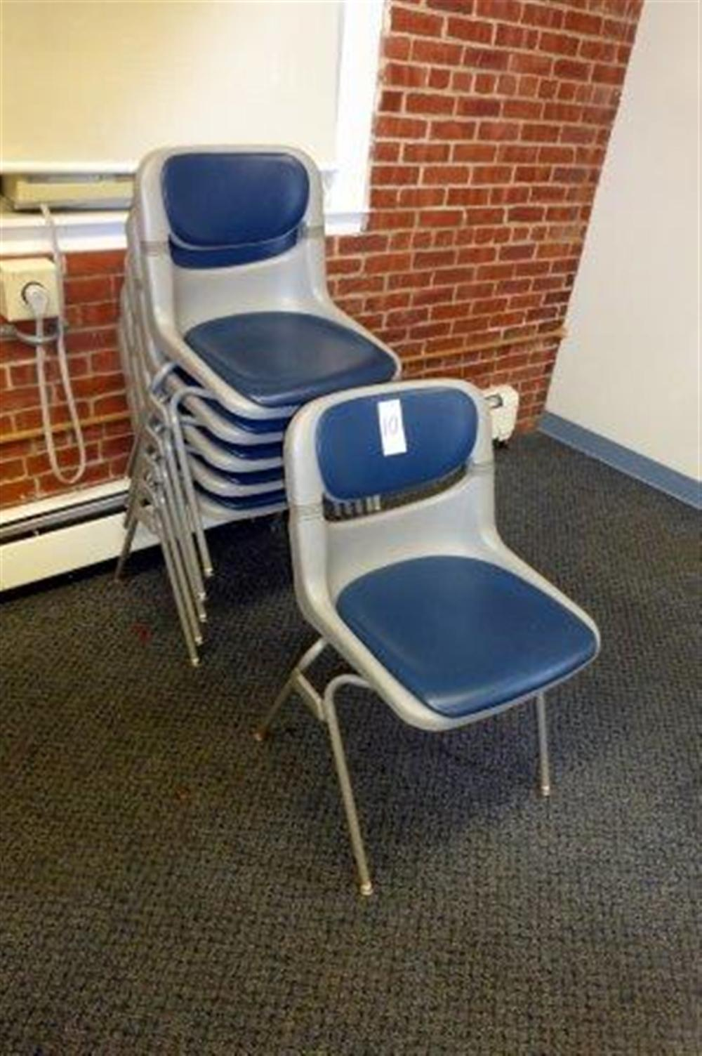 6- BLUE/GREY MOLDED STACK CHAIRS