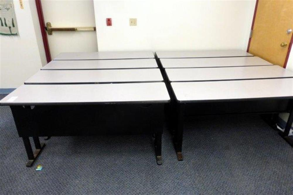 8-5' DESK TABLES W/GREY TOP