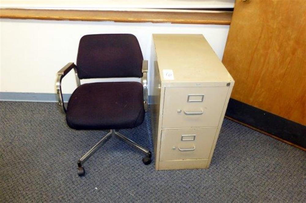 2DR FILE CABINET & SWIVEL ARM CHAIR