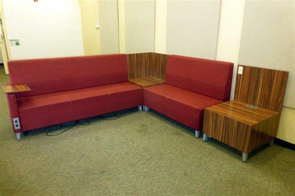 L-SHAPED SECTIONAL UNIT W/CHARGING STATIONS & TABLE