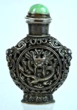 Fine 18/19th C Chinese Silver Dragon Snuff Bottle