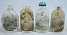 Fine Private Collection 4 Chinese Landscape Snuffs