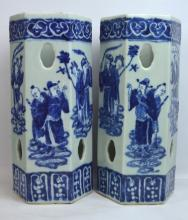 19C Opposing Pr Chinese B & W Porcelain Hat Stands