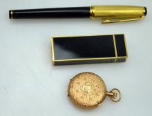 Cartier Paris Gilt Lighter, Pen, Waltham 14K Watch