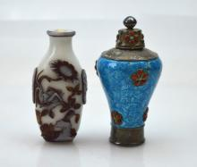 Chinese Enameled Silver Meiping; Glass Snuff