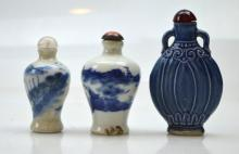 3 - Chinese Blue & White Porcelain Snuff Bottles