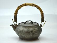 Rare 19th C Chinese Pewter Teapot; Lingzhi & Orchid