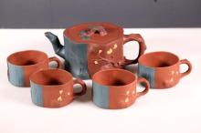 Chinese 3 Friends of Winter Yixing Teapot & 4 Cups