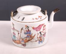 19C Chinese Enameled Porcelain Teapot Tongzhi Mark