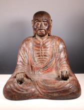 Lg 18C Japanese Seated Lohan, Wood & Lacquer
